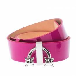 Dsquared2 Pink Patent Leather Spike Buckle Belt 85CM 235206