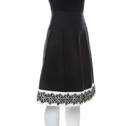 St. John Black Stretch Cotton Contrast Hem Floral Applique Detail Skirt L