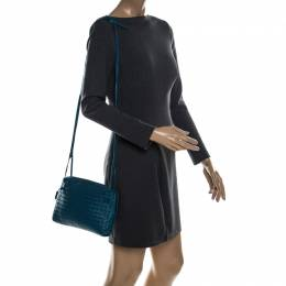Bottega Veneta Blue Intrecciato Leather Nodini Crossbody Bag 232182