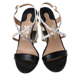 Salvatore Ferragamo Tricolor Lizard Embossed Leather Wedge Ankle Strap Sandals Size 39 235428