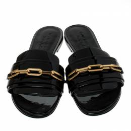 Burberry Black Patent Leather Chain Detail Slip On Slides Size 39.5 235430