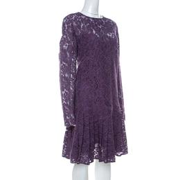 Ermano Scervino Purple Floral Lace Long Sleeve Dress L Ermanno Scervino 235370
