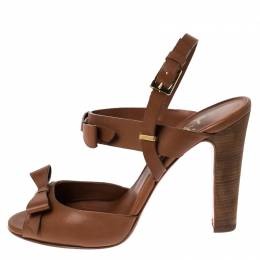 Christian Louboutin Tan Leather Bow Peep Toe Ankle Strap Sandals Size 39