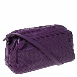 Bottega Veneta Purple Intrecciato Leather Camera Crossbody Bag 231718