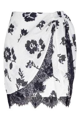 Короткая юбка с кружевом и пайетками Self-portrait 532158960