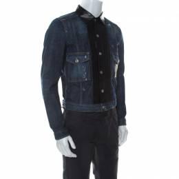 Dsquared2 Blue Denim Distressed Detail Leather Trim Jacket M 235918