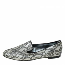 Roger Vivier Black Lace And Satin Slip On Loafers Size 36