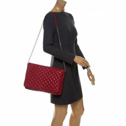 Carolina Herrera Red Quilted Leather Flap Chain Shoulder Bag 233037