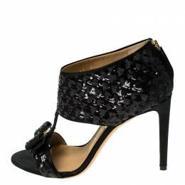 Salvatore Ferragamo Black Sequins and Satin Vara Bow Ankle Strap Sandals Size 38.5 236133