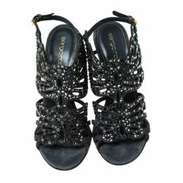 Sergio Rossi Grey Butterfly Cut Crystal Embellished Suede Sandals Size 36 236099