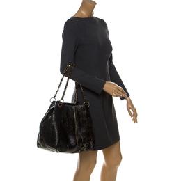 Carolina Herrera Black Monogram Leather Chain Shoulder Bag 233055
