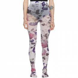Erdem White and Multicolor Printed Tights 192641F07600101GB
