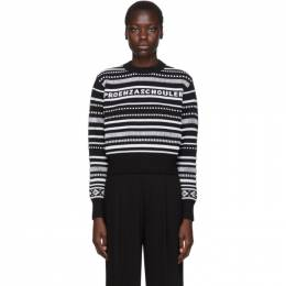 Proenza Schouler Black and White PSWL Logo Cropped Sweater 192288F09600602GB
