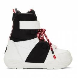 Moncler Grenoble Black and White Norah Boots 00488 00 02S2Y