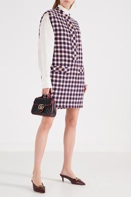 Твидовое мини-платье в клетку Gucci 470151455