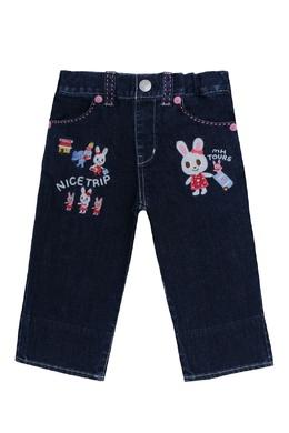 Синие джинсы с отделкой Miki House 3018159765