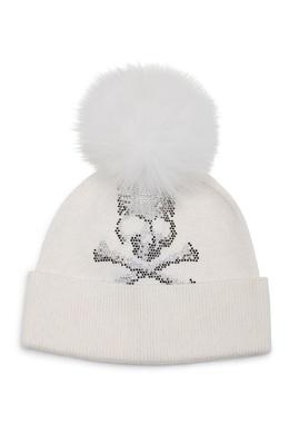 Белая шапка со стразами и помпоном Philipp Plein 1795159331