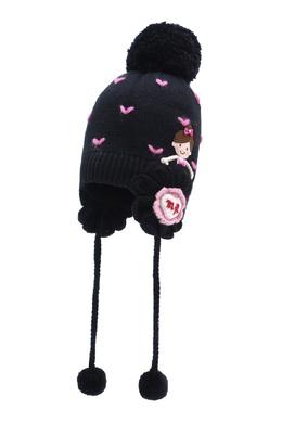 Черная шапка с отделкой Miki House 3018159783