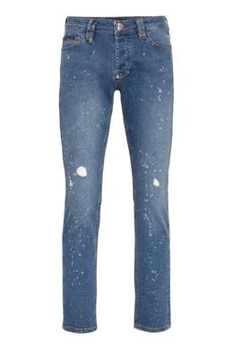 Голубые узкие джинсы с пятнами Philipp Plein 1795159789