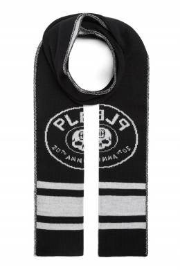 Черно-белый шарф с логотипом Philipp Plein Kids 2714159320