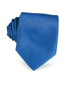 Однотонный Шелковый Галстук Forzieri 185 azzurro Italia
