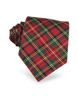 Шелковый Галстук в Шотландскую Клетку Forzieri 1544/1 red