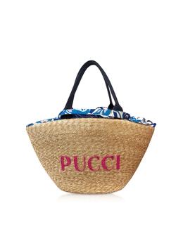 Фирменная Текстурная Сумка Tote Emilio Pucci 0EBC76-0E904 A08 NATURALE/ROYAL BLU