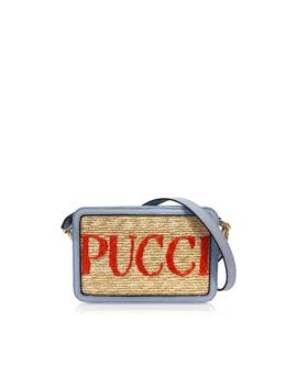 Маленькая Фирменная Сумка с Кожаным Ремешком на Плечо Emilio Pucci 0ESD69-0E904 A01 NATURALE/CIELO