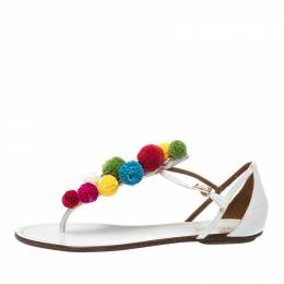 Aquazzura White Leather Pom Pom Flat Sandals Size 38 233727