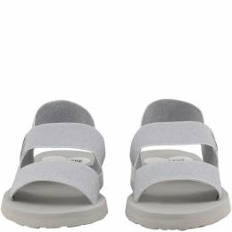 Love Moschino Grey Glitter Fabric Sandals Size 39 235594