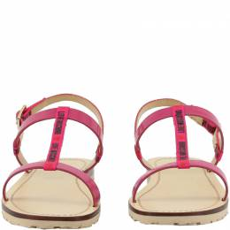 Love Moschino Beige/Pink Faux Leather Flat Sandals Size 37 235590