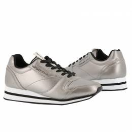Versace Jeans Metallic Grey Faux Leather Lace Up Sneakers Size 37