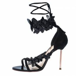 Sophia Webster Black Suede And Patent Leather Butterfly Ankle Wrap Sandals Size 36 235984