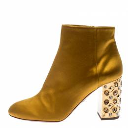 Aquazzura Yellow Satin Party Embellished Block Heel Ankle Booties Size 39 231502