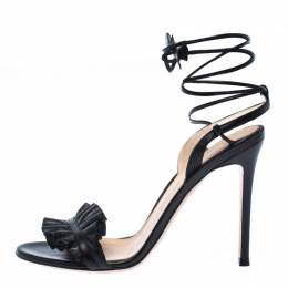 Gianvito Rossi Black Leather Ruffled Ankle Wrap Sandals Sandals 38 232558