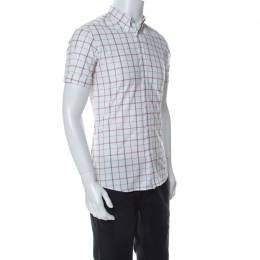 Alexander McQueen White Checked Tonal Skull Pattern Cuff Sleeve Shirt S