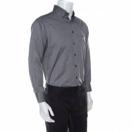 Etro Grey Cotton Long Sleeve Button Front Shirt M