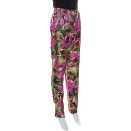 Dolce&Gabbana Pink Fig Print Silk Elasticized Waist Pants M