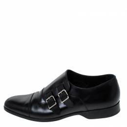 Ralph Lauren Black Leather Double Strap Monk Oxfords Size 42 237655