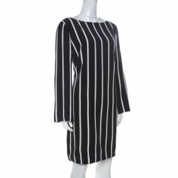 Emilio Pucci Black and White Vertical Striped Silk Long Sleeve Dress L 236256
