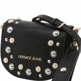 Versace Jeans Black Faux Leather Embellished Crossbody Bag
