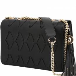 Versace Jeans Black Faux Leather Tassel Shoulder Bag
