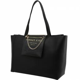 Versace Jeans Black Faux Leather Shopping Tote