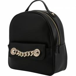 Versace Jeans Black Faux Leather Backpack