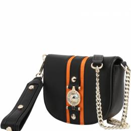 Versace Jeans Black Faux Leather Crossbody Bag