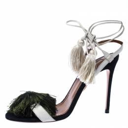 Aquazzura White Suede Johanna Ortiz Tassel Ankle Wrap Sandals Size 36.5 233036