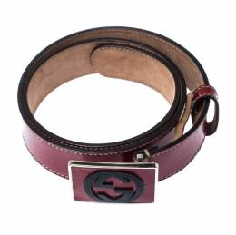 Gucci Red Patent Leather GG Plaque Belt 80CM 233081