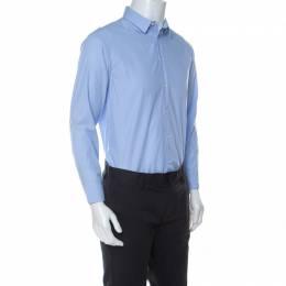 Armani Collezioni Light Blue Pinstripe Cotton Button Front Modern Fit Shirt M