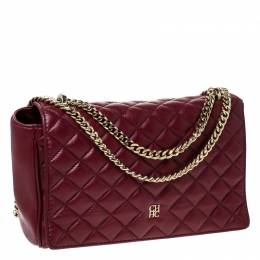Carolina Herrera Red Quilted Leather Flap Chain Shoulder Bag 233263