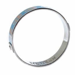 Alexander McQueen Blue Skull Enamel Silver Tone Bangle Bracelet 233124